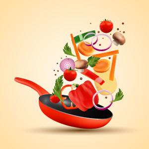 Grafik Pfanne mit gesunden Zutaten