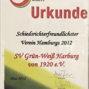 Gwharburg Urkunde Schiedsrichterfreundlichster Verein 2012